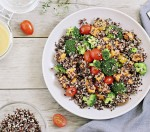 Quinoa salad with broccoli,sweet potatoes and tomatoes